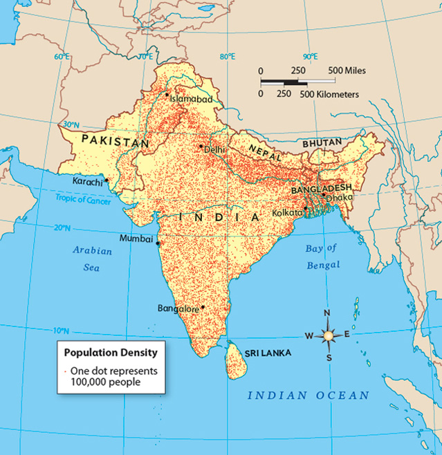 a population map of south asia